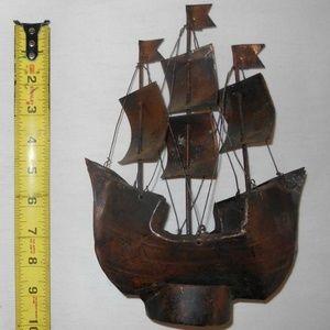 Vintage Collectible Metal Sail Boat Ship Decor